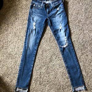 AG Super Skinny Distressed Ankle Jeans